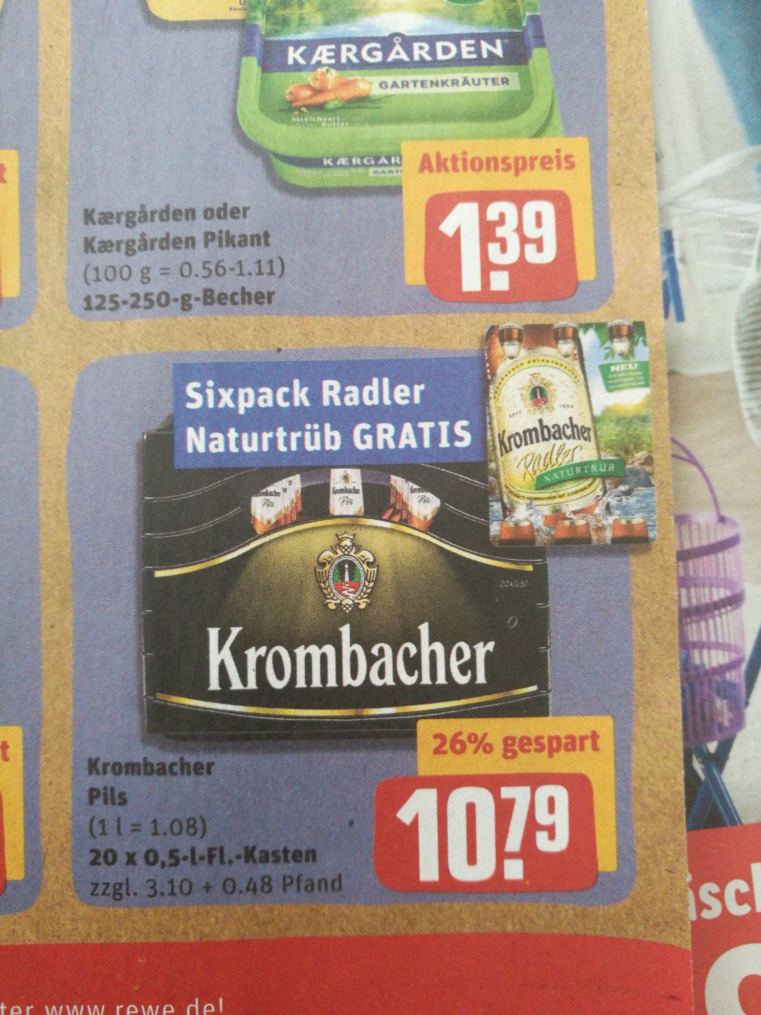 [Rewe offline] Krombacher 20x0,5 Liter plus Sixpack Radler Naturtrüb