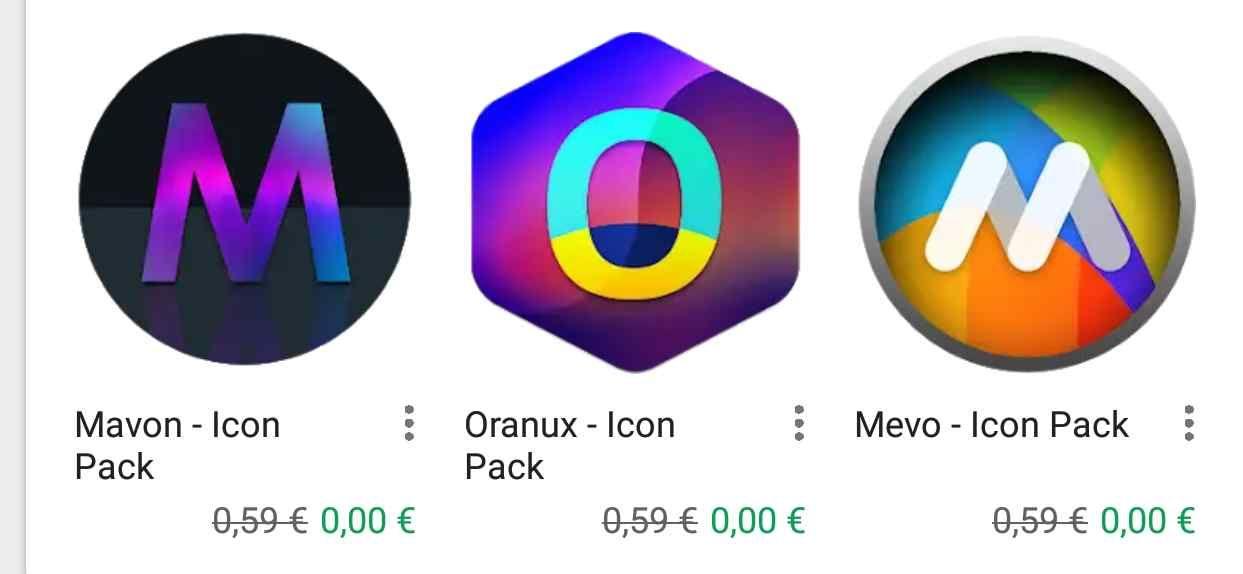 """[Google Playstore] (Update, 10.Juli.2018) 13 x Icon Packs von A1 Design, für Android. Z.B. """"Mavon Icon Pack""""  kostenlos anstatt 0.59€. Über 17.000 verschiedene Icons."""