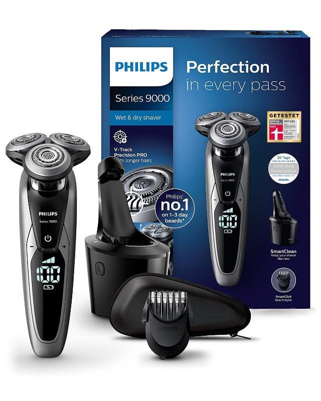 Philips Elektrischer Nass-und Trockenrasierer Series 9000 mit V-Track-Pro-Klingen S9711/31, SmartClean Reinigungsstation, Bartstyler