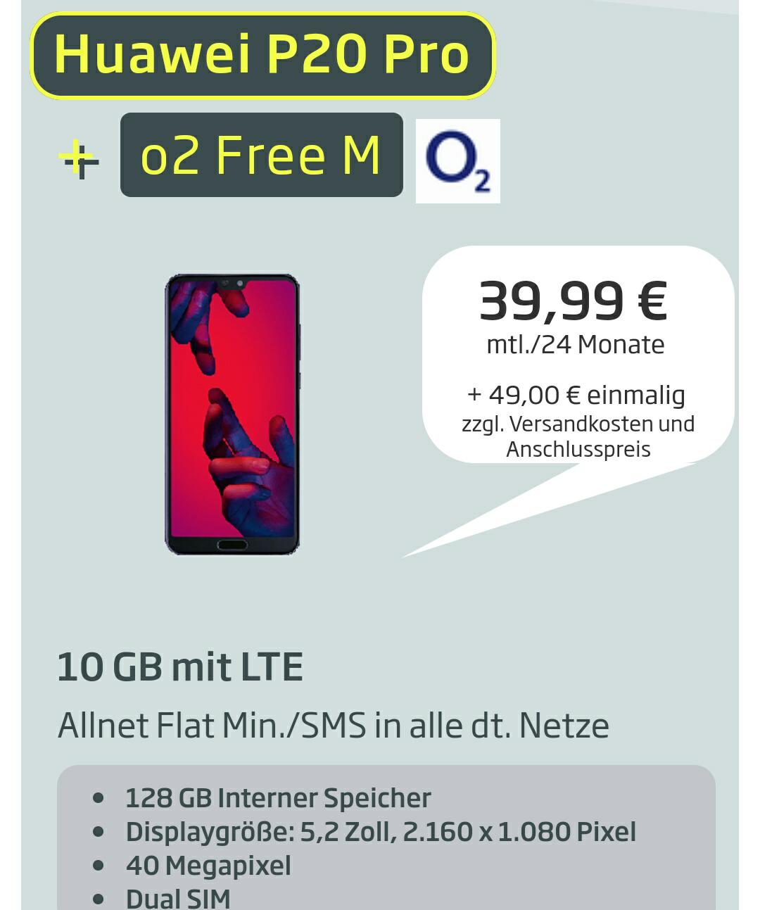 Huawei P20 Pro + O2 Free M + 150€ Amazon