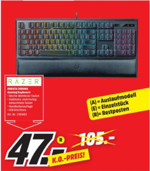 [Regional Mediamarkt Frankfurt Nordwest Zentrum] Razer Ornata Chroma Gaming Tastatur (Mecha-Membran Tasten, Chroma RGB Beleuchtung und Ergonomischen Design mit Handballenauflage) für 47,-€