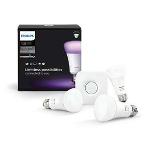 Philips Hue White & Color E27 LED Lampe Starter Set, 3. Generation inkl. Bridge [Prime, Warehouse 20%]