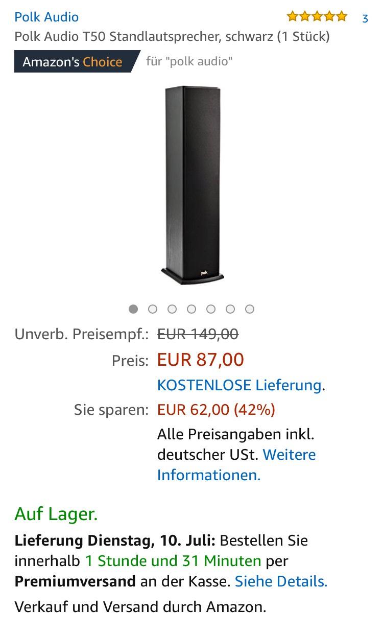 (Amazon / MediaMarkt) Polk Audio T50 Standlautsprecher, schwarz (1 Stück)