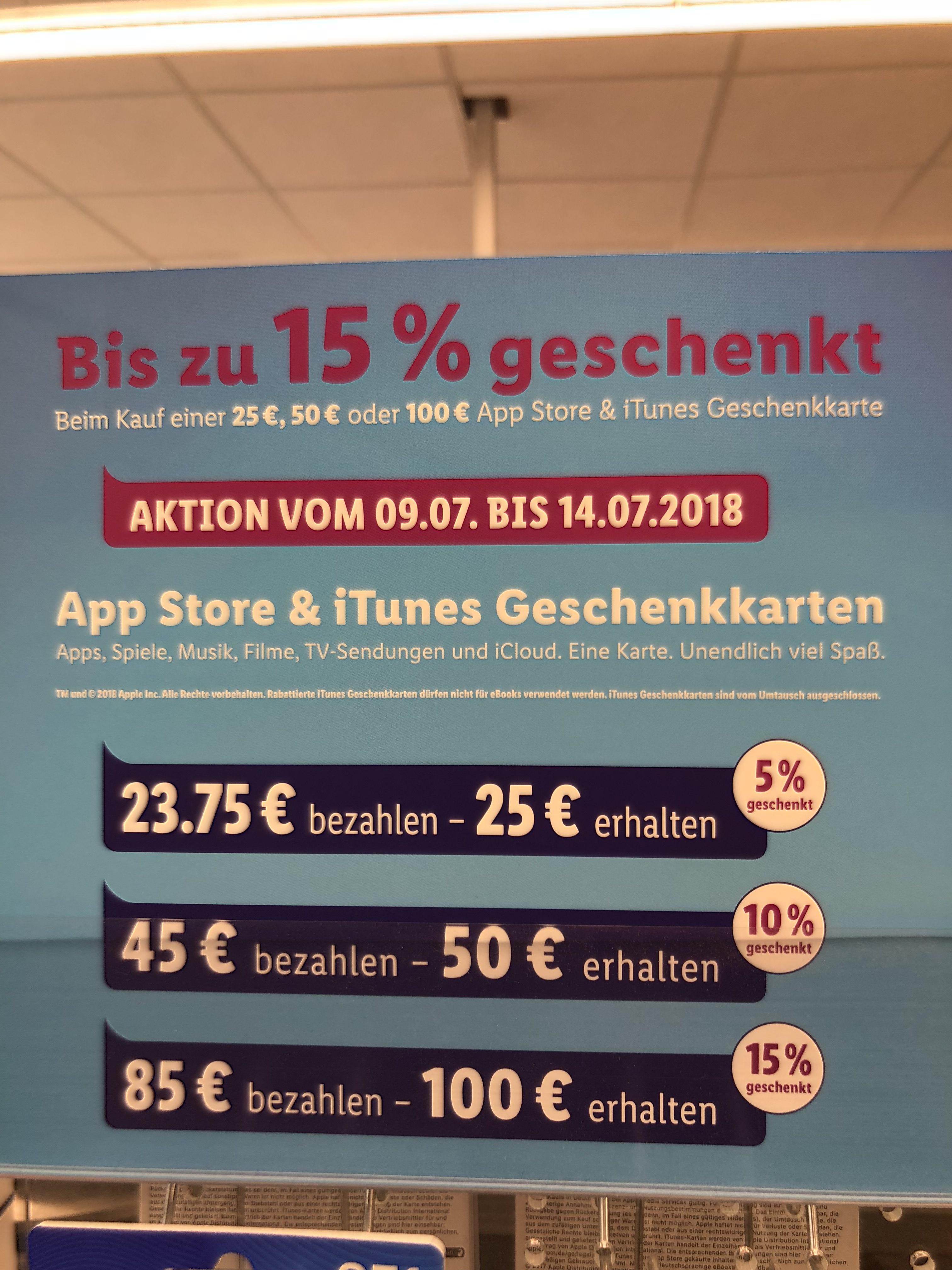 App-Store & iTunes Guthaben bis zu 15% Abzug [Lidl]
