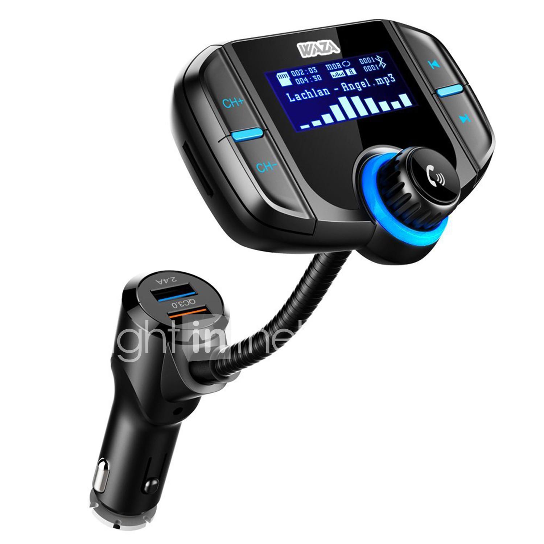 WAZA BT-70 Bluetooth FM Transmitter mit Dual-USB (QC 3.0 & 2.4A), microSD-Slot & Kopfhöreranschluss