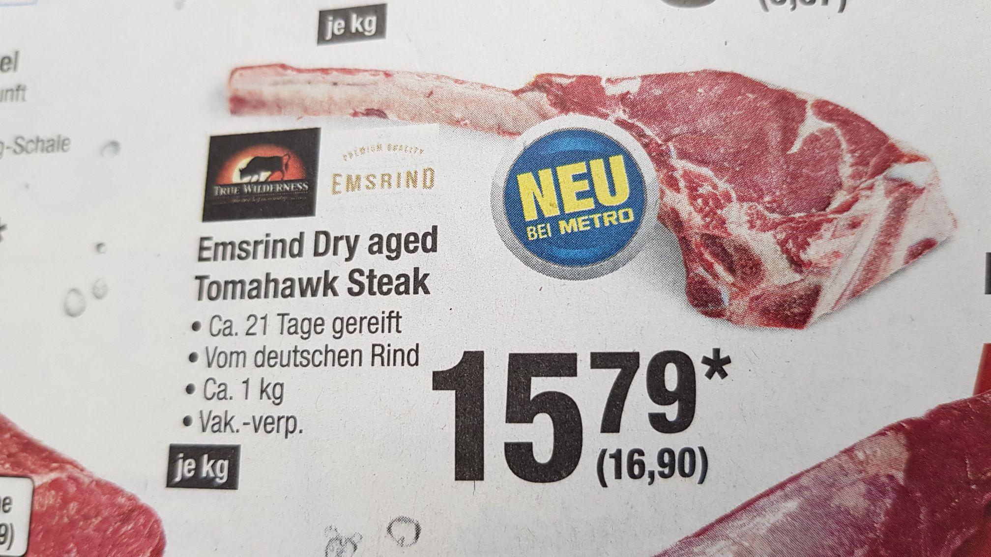 Tomahawk dry aged Metro zum Bestpreis (16,90 Euro /kg})