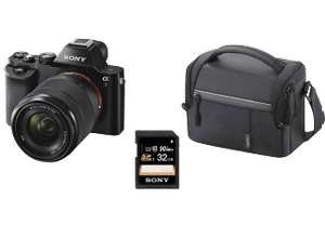 DSLM Sony Alpha 7 Kit 28-70 mm (Vollformat, 24.3 Megapixel, 2.68x opt. Zoom, Full HD, WLAN) + Tasche + 32GB SD-Karte