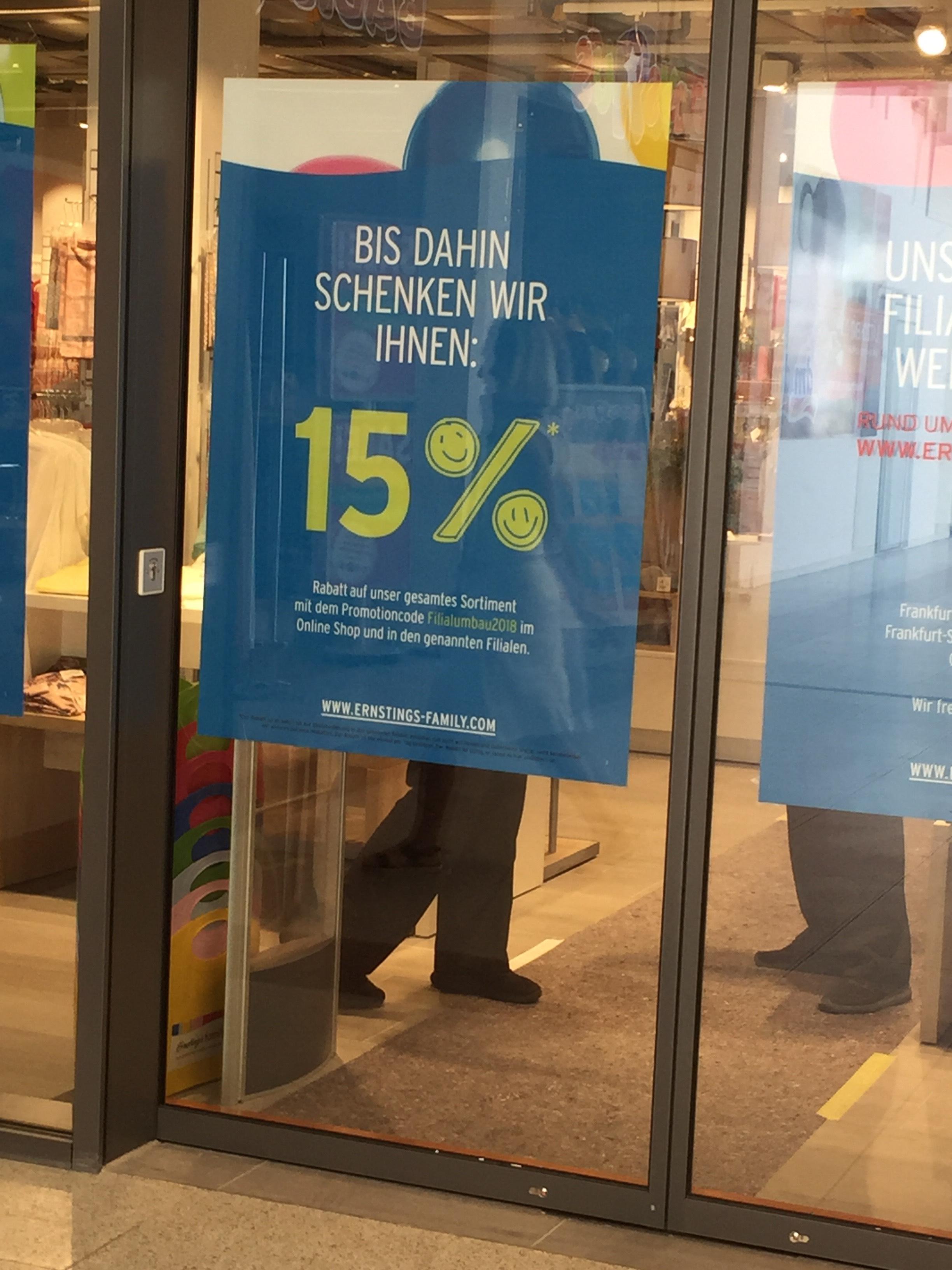 [online und lokal in Frankfurt] Ernstings Family 15% auf alles mit Code