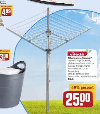[Rewe Center] Vileda Sunshine Premium Wäschespinne (40m), klappbar für 25€ [Darmstadt/Egelsbach/Hamburg] + 5,00€ Scondoo ab 3 Vileda Produkten