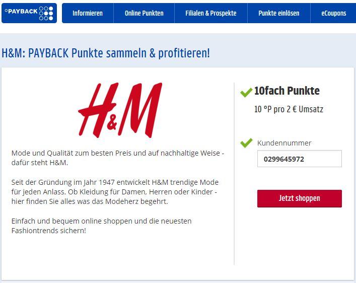 H&M mit 10fach PAYBACK Punkten