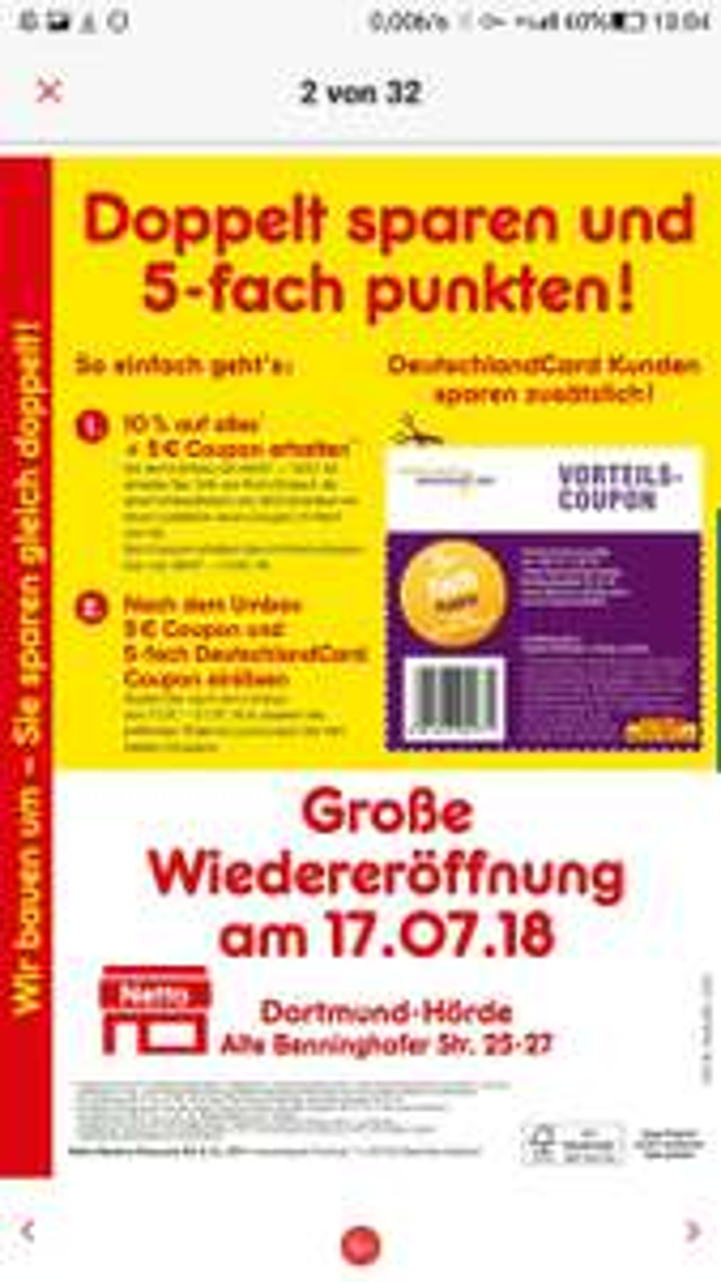 [Lokal] Netto Dortmund Hörde - [Update: 17.07-21.07 10% auf Alles] 9.+10.07 10% auf Alles +5€ Rabatt(Mindesteinkauf 5€) ab Einkauf von 20€