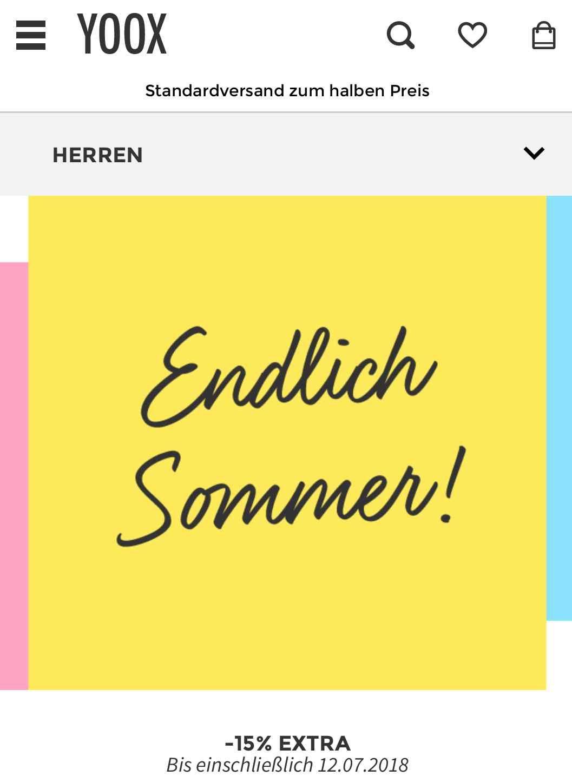"[Yoox] ""Endlich Sommer"" -15% Extra, Mode für Damen/Herren,z.B. Miu Miu, Michael Kors, Rick Owens, Prada, P. Plein..."