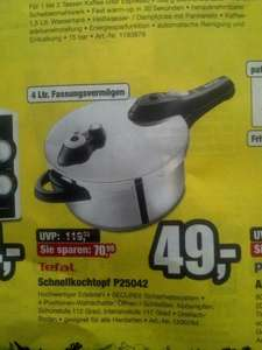 (lokal Potsdam) Promarkt   Tefal Schnellkochtopf P25042