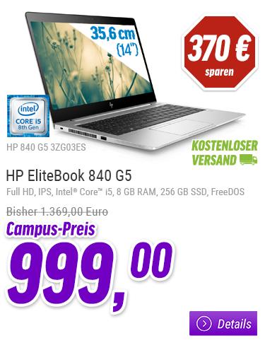 "[NBB] HP EliteBook 840 G5 (eff. 924€) - Core i5 8250U / 1.6 GHz - 8 GB RAM - 256 GB SSD, - 35.56 cm (14"") IPS 1920 x 1080 (Full HD)  für Azubis, Studenten, Schüler & Lehrkräfte"