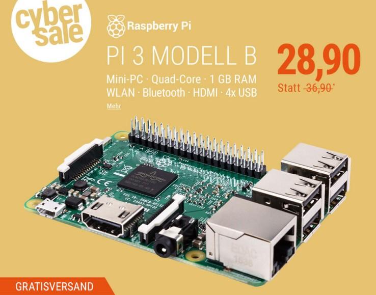 Raspberry Pi 3 Modell B im Cybersale [Cyberport]