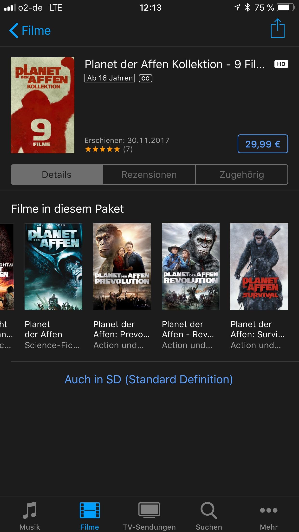 iTunes - Planet der Affen 9 Filme