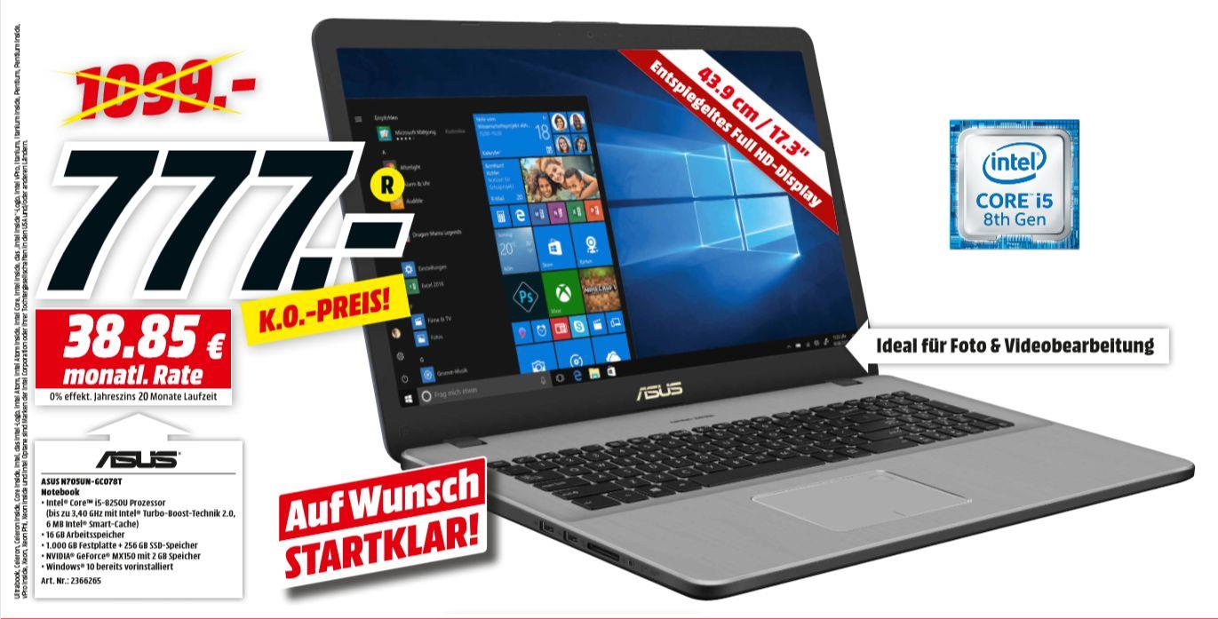 "[Regional Mediamarkt Berlin/Brandenburg-Alle 19 Filialen ab 12.07] Asus VivoBook Pro 17 N705UN-GC078T / 17,3"" Full-HD / Intel Core i5-8250U / 16GB RAM / 1TB + 256GB SSD / GeForce MX150/ Win10 für 777,-€"