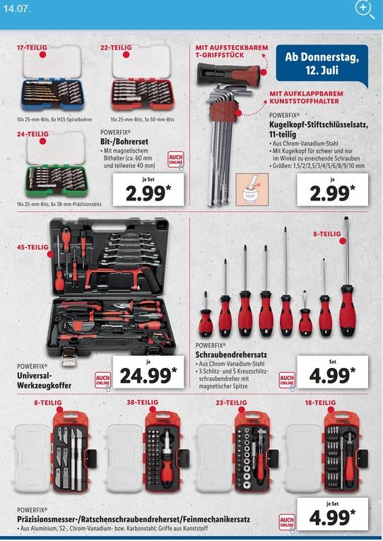 LIDL (On+Offline) Werkzeuge für den Heimwerker (Schraubendreher, Ratscheset, ...)
