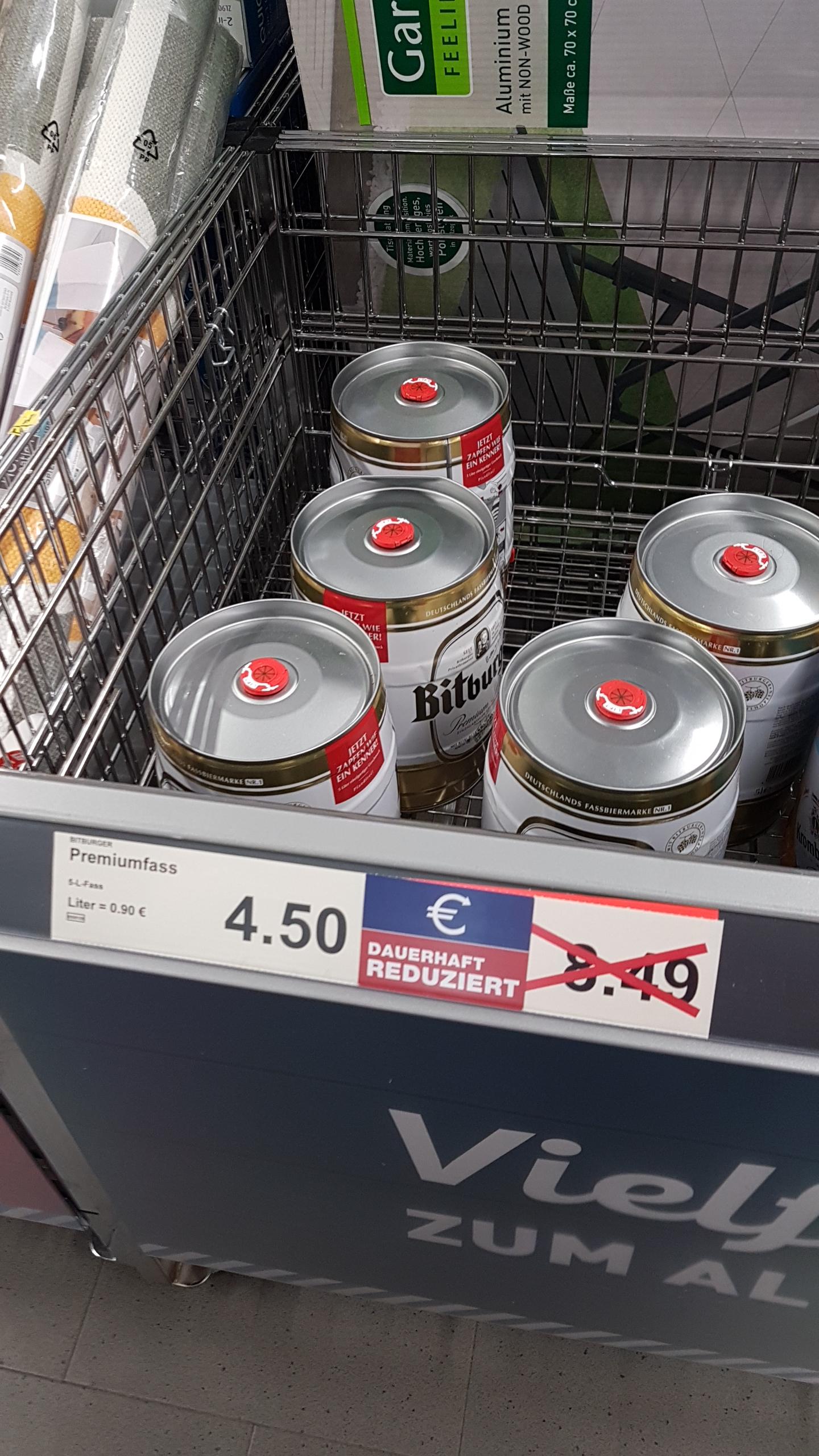 [Lokal Aldi HH-22119] Bitburger 5L Bierfass für 4,50€
