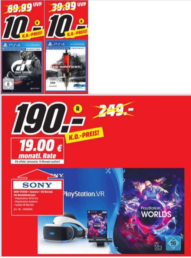 [Regional Mediamarkt Landau] Gran Turismo: Sport Day One Edition (PS4) und The Inpatient (PS4) für je 10,-€ // Sony PlayStation VR PlayStation Kamera + PlayStation VR Worlds für 190,-€