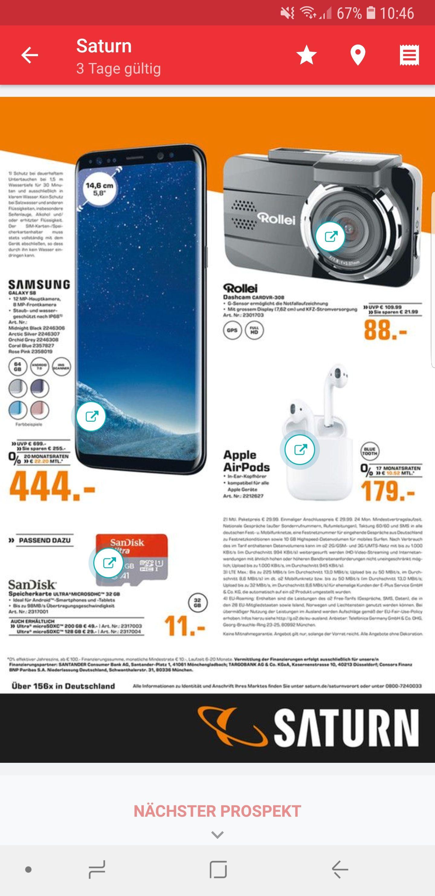 [Saturn] Samsung Galaxy S8 für 444 , Apple Airpods 179€