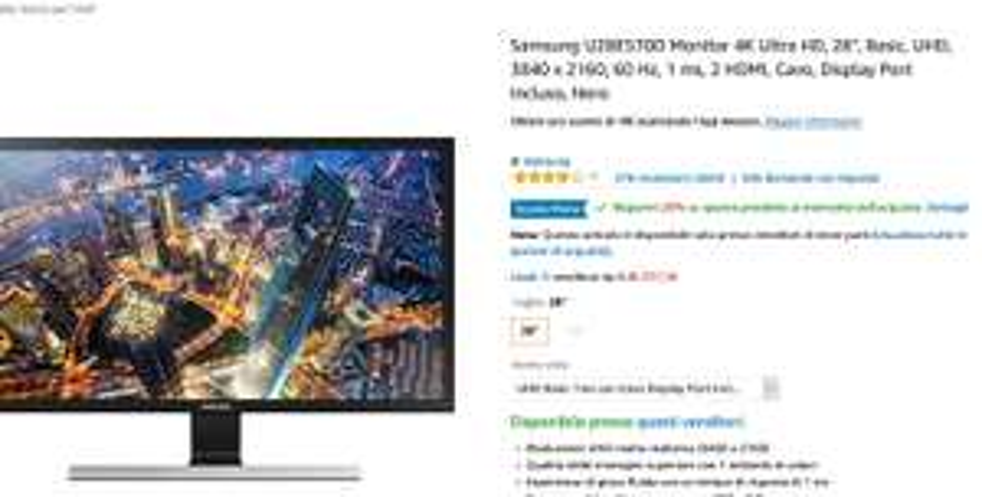 """Warehousdeal Amazon.it  Samsung U28E570D Monitor 4K Ultra HD, 28"""", Basic, UHD"""