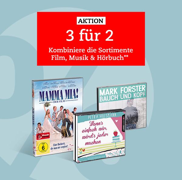 [thalia.de] 3 für 2 Aktion für Filme, Musik & Hörbücher