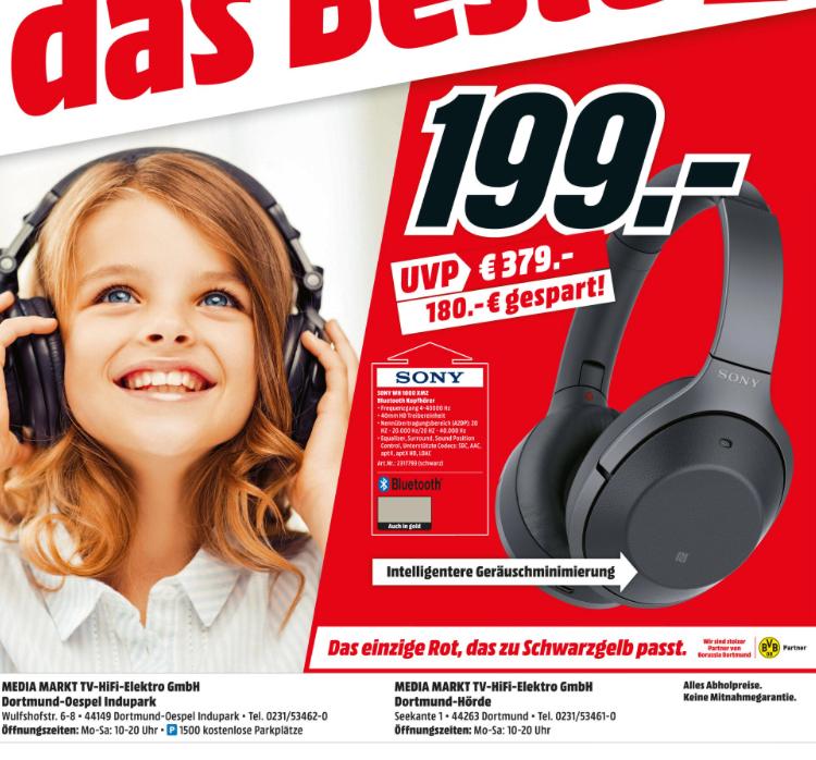SONY WH-1000XM2, Over Ear Kopfhörer [Lokal MM Dortmund] in Schwarz und Gold