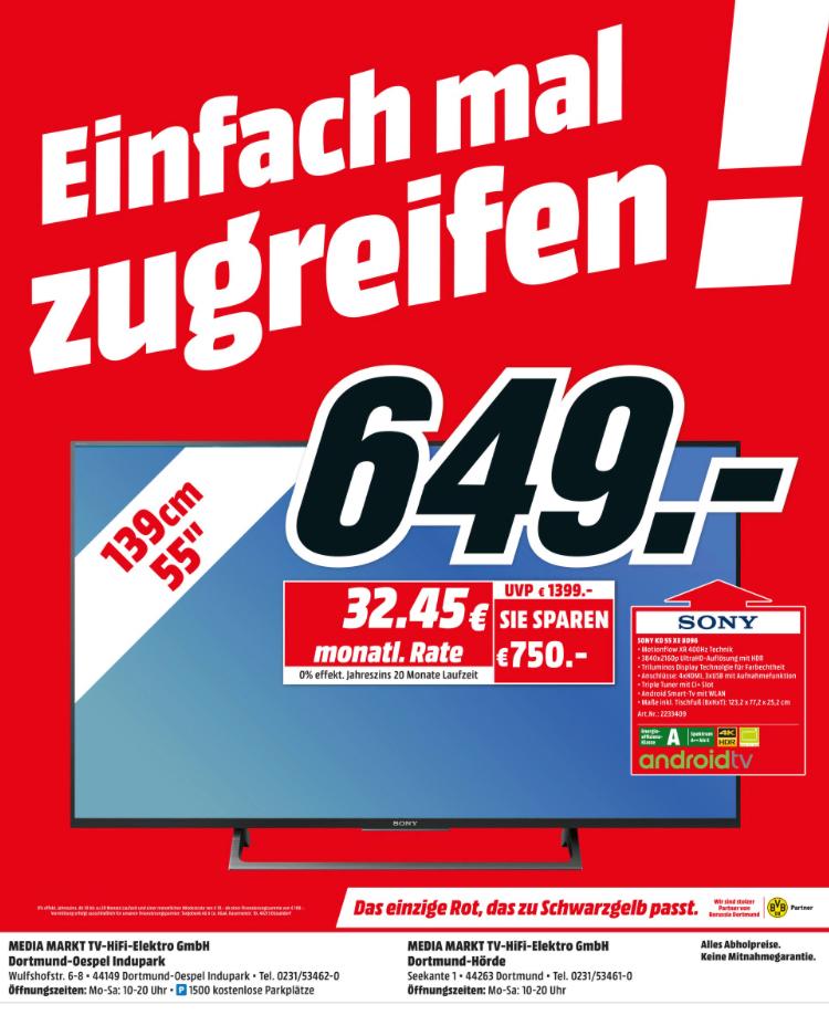 "SONY KD-55XE8096, 139 cm (55""), UHD 4K TV Fernseher [Lokal MM Dortmund]"