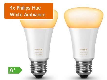 Philips Hue White Ambiance E27 - 4er Pack für 69,97€