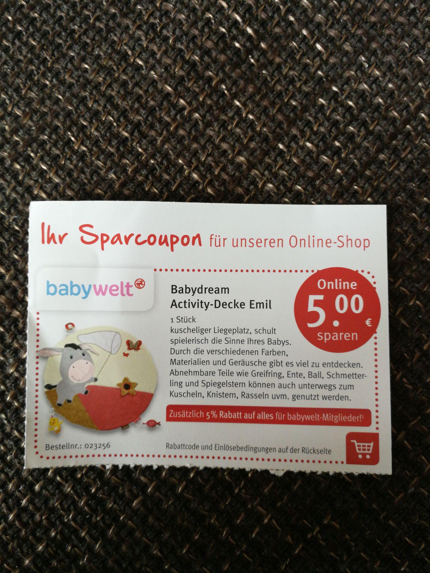 [Rossmann] 5 Euro (+ nochmal 5% Rabatt für babywelt Mitglieder) Spar-Coupon Babydream Activity-Decke Emil