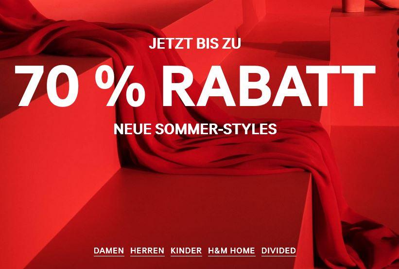 H&M    Bis zu 70% auf Neue Sommer- Styles bei H&M