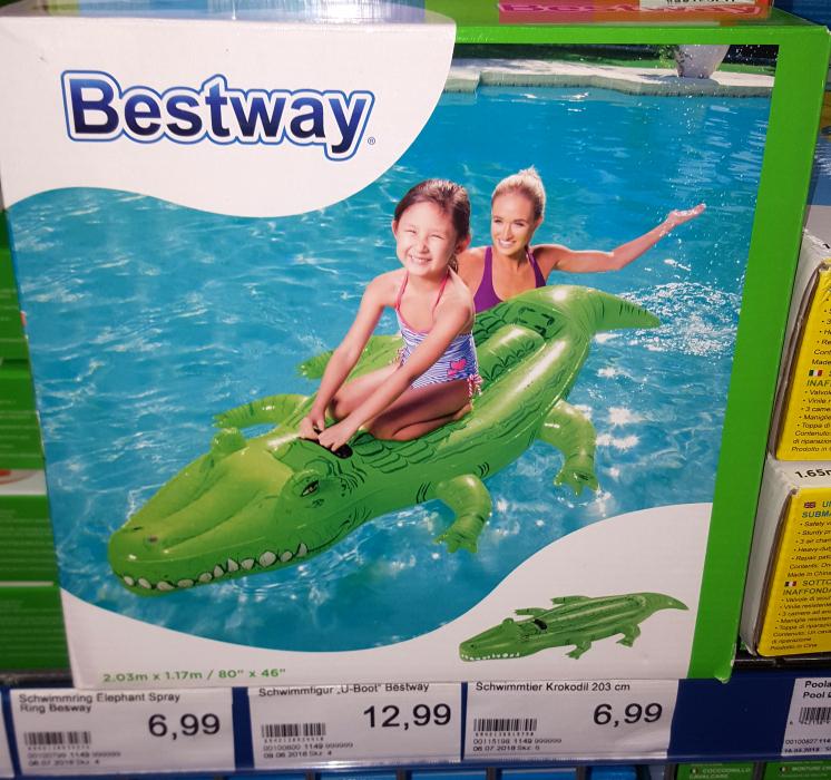 [Ebay] Aufblasbares Krokodil von Bestway (203x117cm) für 7,98€ inkl. Versand oder für 6,99€ bei Jawoll vor Ort