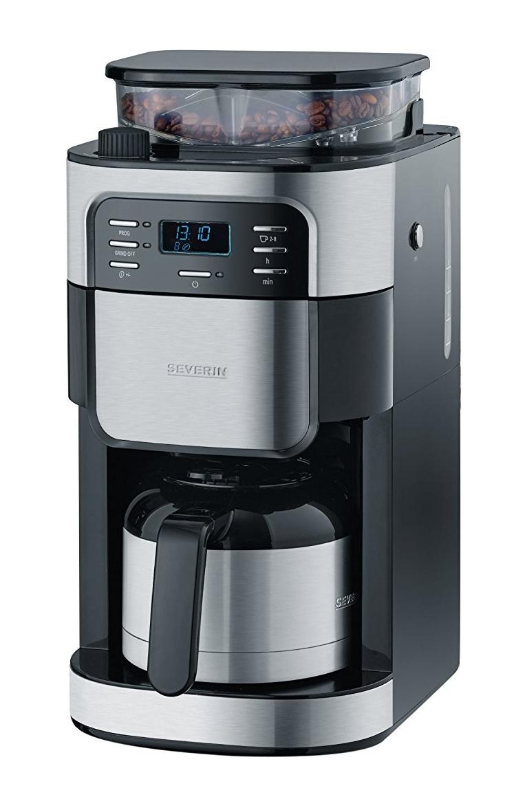 [Prime] Severin KA 4812 Kaffeeautomat mit Mahlwerk, (1000 Watt, 1 Liter, edelstahl-Thermokanne) edelstahl/gebürstet/schwarz