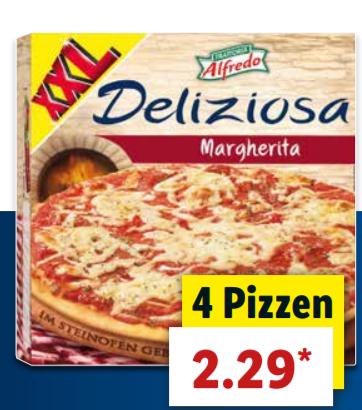 [LIDL] Ab Donnerstag 19.07. 4x Alfredo Margherita Pizza XXL für 2,29€ - Stück also 57 Cent - Und weitere Deals kommende Woche