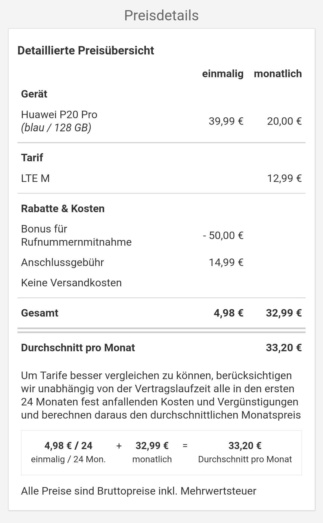 Huawei p20 pro mit Vertrag PremiumSim O2 für 846,74€ (-50€ möglich) check24