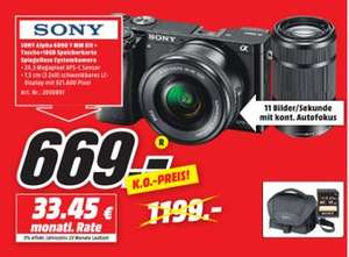 LOKAL Bremen - SONY Alpha 6000 Kit Systemkamera 24.7 Megapixel mit Objektiv 16-50 mm, 55-210 mm f/3.5-5.6, f/4.5-6.3, 7.5 cm Display , WLAN
