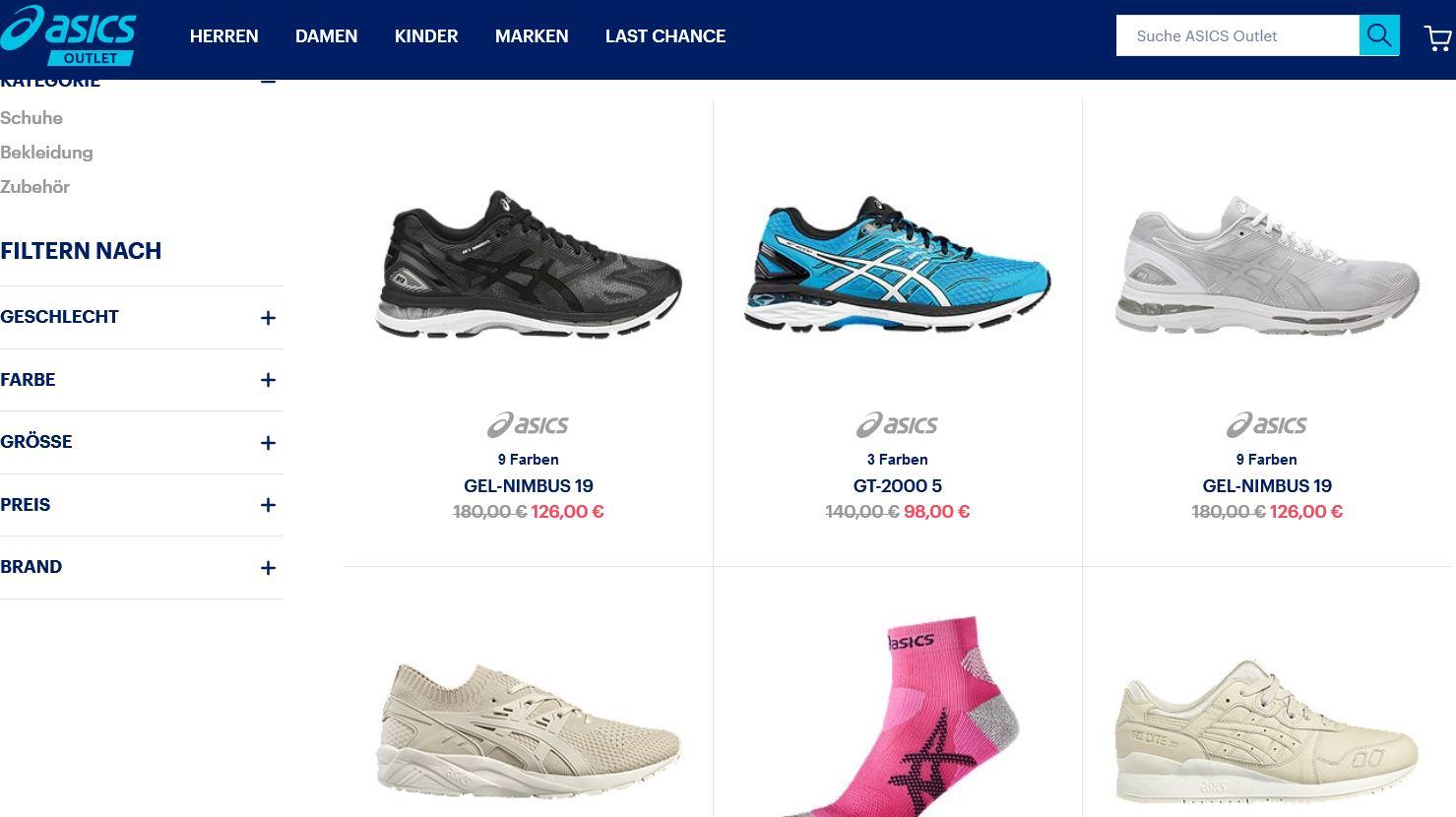 ASICS Online bis zu 50 Rabatt     Herren und Damen Sportartikel