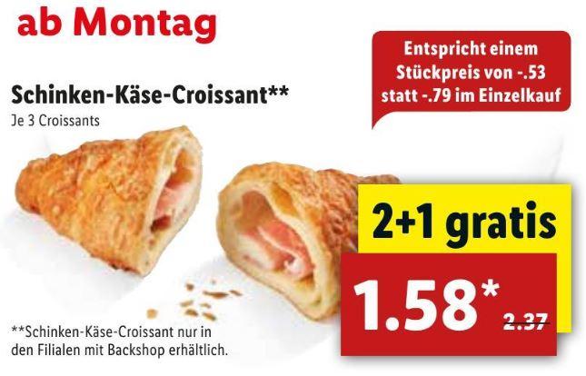 [Lidl ab 16.7.] Drei Käse-Schinken-Croissants für 1,58€