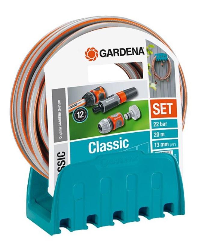 Gardena 18005-50 Wandschlauchhalter inkl. 20 m Schlauch, Adapter, Wasserstop und Reinigungsspritze [plus.de]