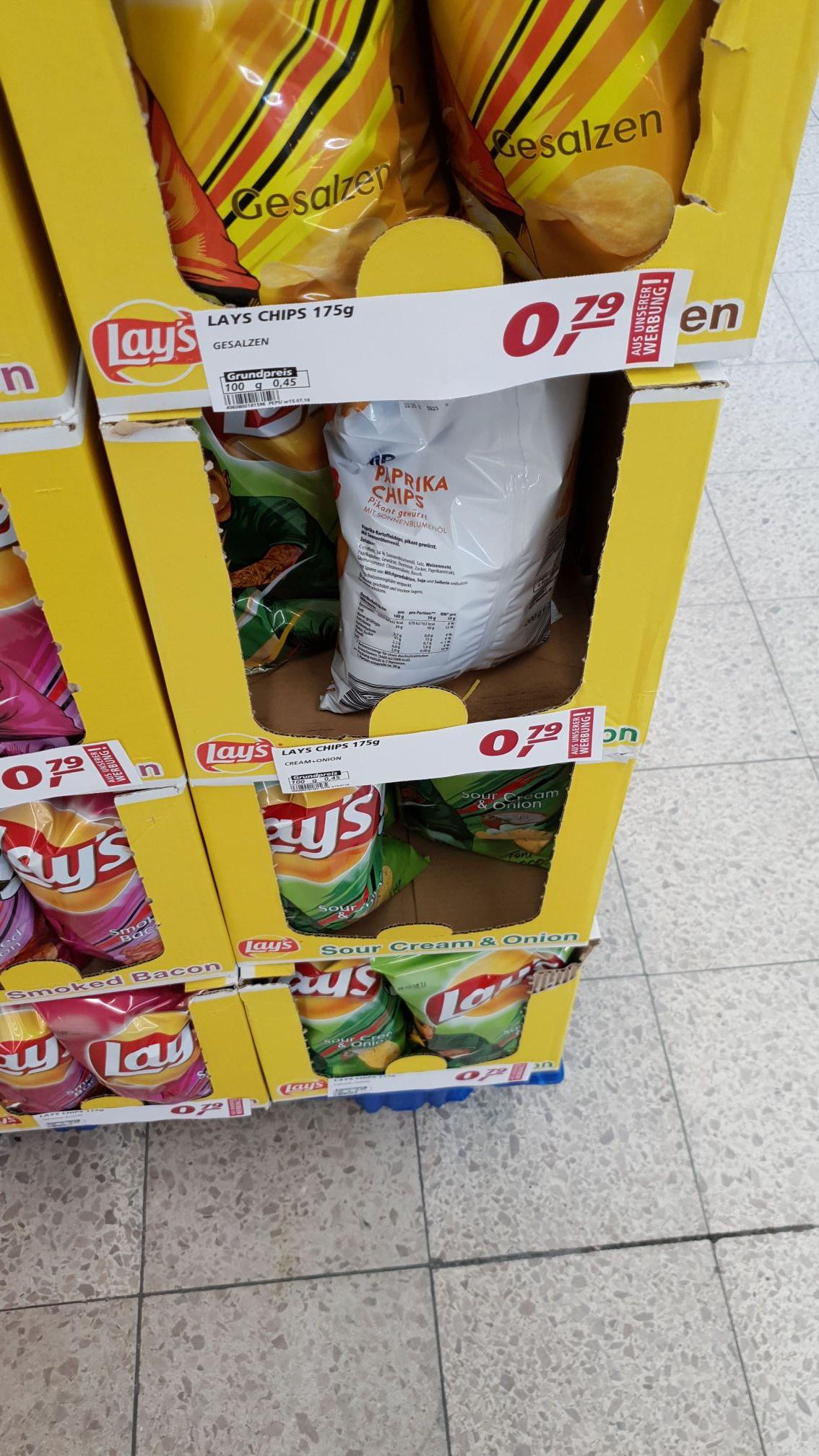 [Lokal Braunschweig] Lays Chips, verschiedene Sorten, 175g für nur 79 Cent bei real