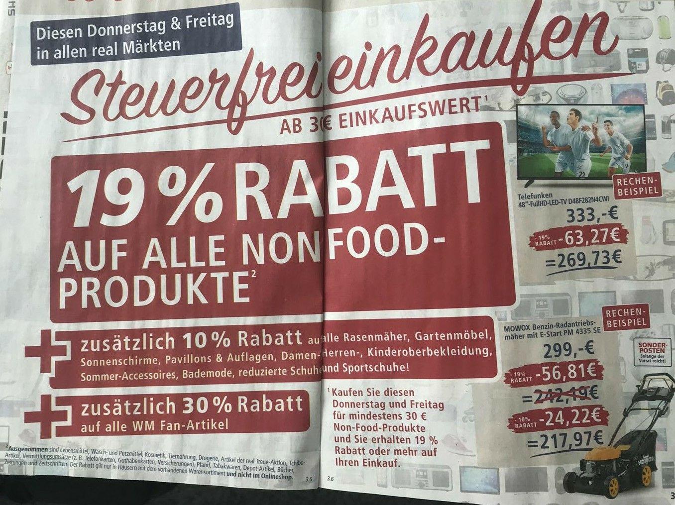 [Real lokal] 19% auf non Food + 10% auf Gartenmöbel & Bekleidung + 30% auf WM Artikel