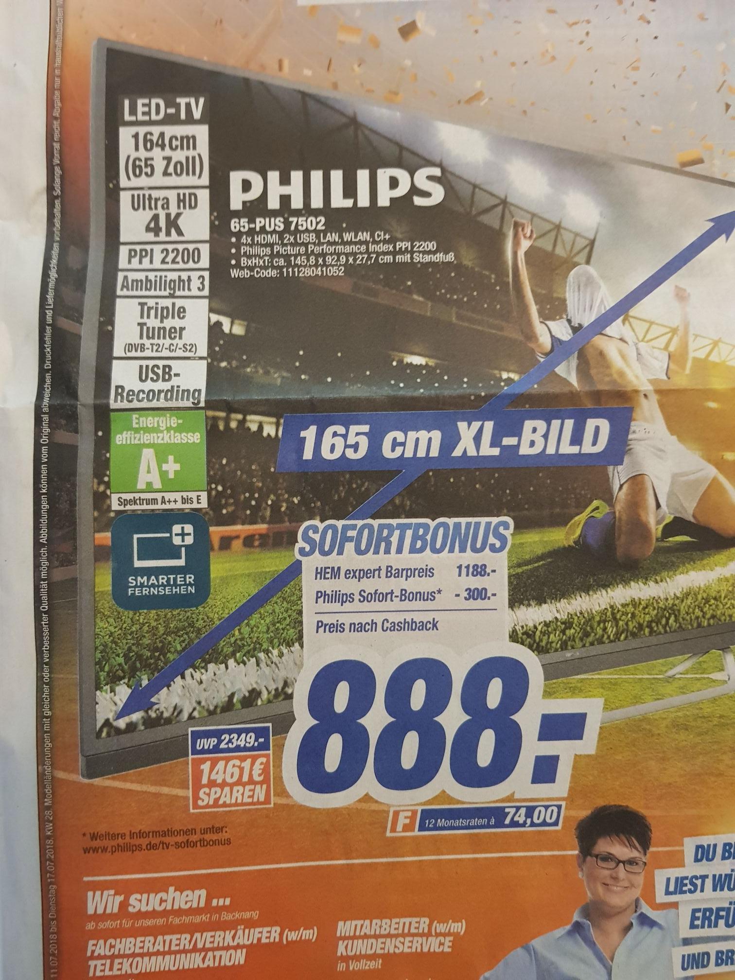[Lokal] Hem Expert Philips 65PUS7502 888€