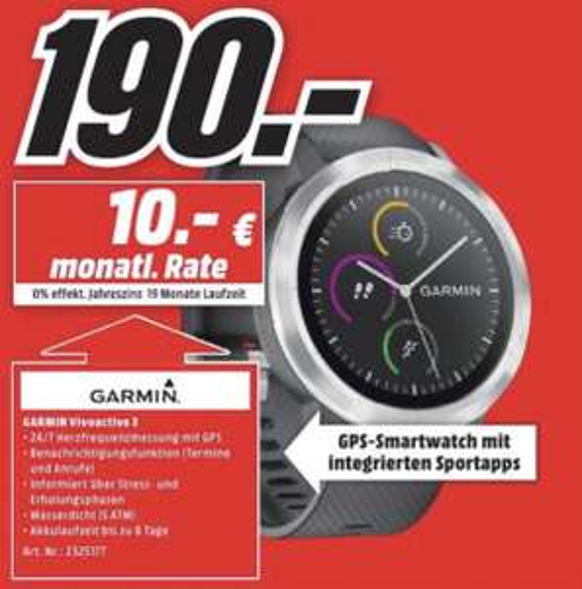 [ LOKAL ] Garmin Vivoactive 3 GPS-Smartwatch schwarz, Silikon