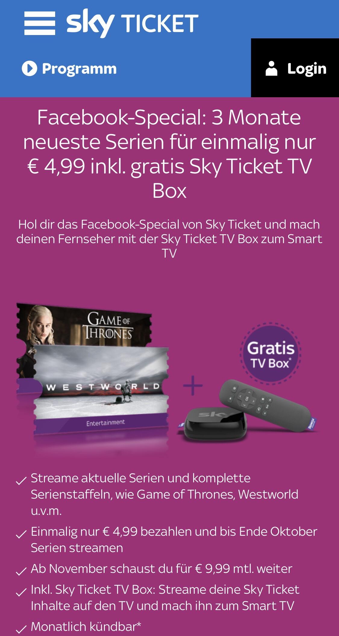 3 Monate neueste Serien für einmalig nur € 4,99 inkl. gratis Sky Ticket TV Box