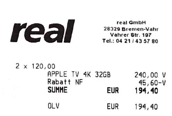 [Diverse Real Märkte] Apple TV 4k 32GB für 97,20€