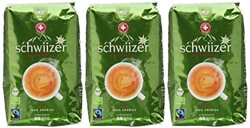 Schwiizer Bio Ganze Kaffeebohnen, 3er Pack (3 x500 g) Bio + Fairtrade (Vorbestellung)