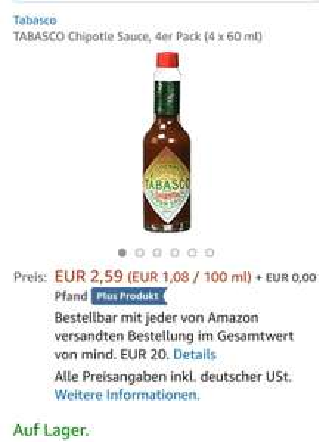 TABASCO Chipotle Sauce, 4er Pack (4 x 60 ml) Amazon Plus Produkt