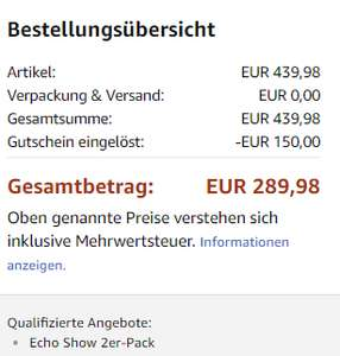 [Amazon] Echo Show - 2er Pack  für 289,98 Euro (144,99 Euro pro Stück)