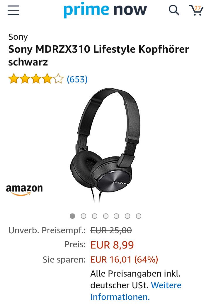 (Amazon Prime Now) Sony MDRZX310 Lifestyle Kopfhörer schwarz (Berlin und München)